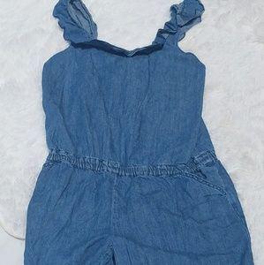Girls Denim Shorts Romper Size XL 14